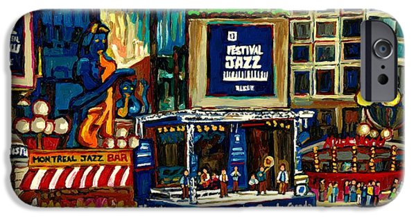 Montreal Restaurants iPhone Cases - Montreal International Jazz Festival iPhone Case by Carole Spandau