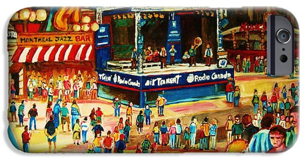 Montreal Storefronts Paintings iPhone Cases - Montreal Jazz Festival iPhone Case by Carole Spandau