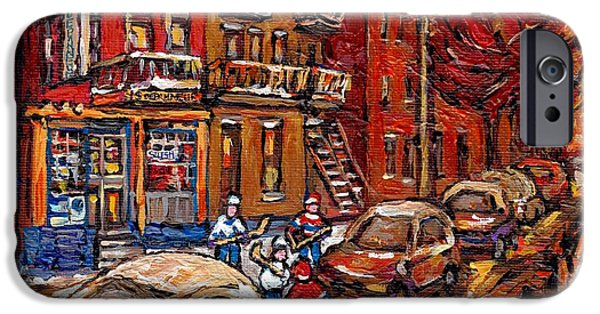 Hockey Paintings iPhone Cases - Montreal Night Scene Painting Hockey Game On Rue Centre At The Depanneur Pointe St Charles Winter  iPhone Case by Carole Spandau