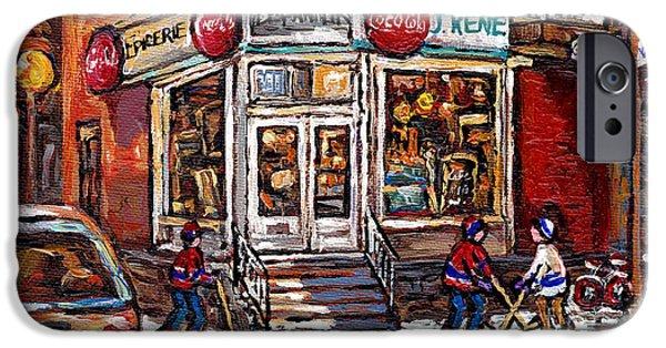 Hockey Paintings iPhone Cases - Montreal Night Scene Street Hockey Painting Depanneur J Rene Rue Villeneuve And Grand Pre Best Art iPhone Case by Carole Spandau