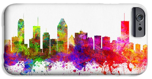 Montreal iPhone Cases - Montreal Quebec skyline color02 iPhone Case by Aged Pixel