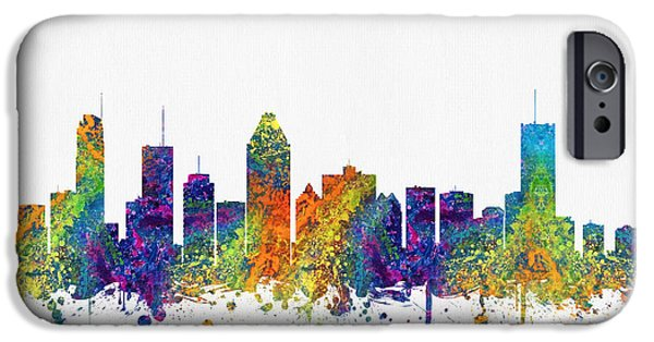 Montreal iPhone Cases - Montreal Quebec Skyline Color03 iPhone Case by Aged Pixel