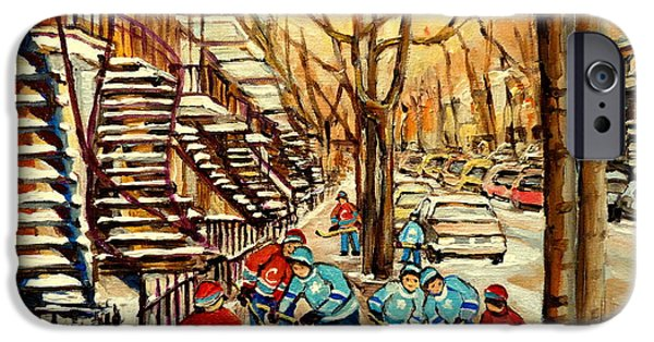 Hockey Paintings iPhone Cases - Montreal Street Hockey Paintings iPhone Case by Carole Spandau