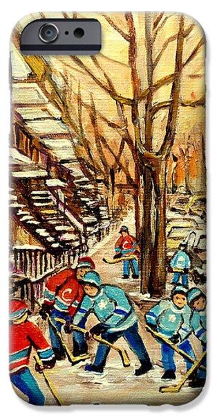 MONTREAL STREET HOCKEY PAINTINGS iPhone Case by CAROLE SPANDAU