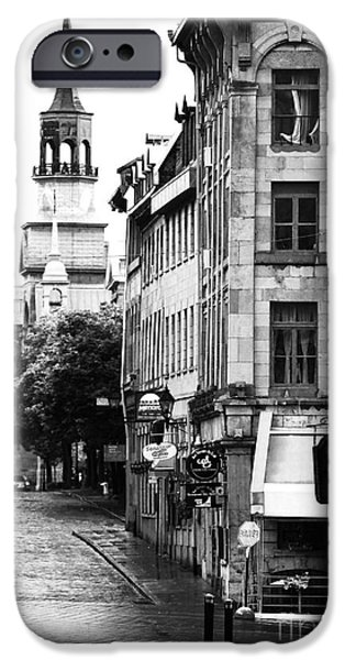 Montreal iPhone Cases - Montreal Street in Black and White iPhone Case by John Rizzuto