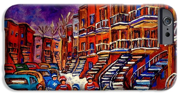 Hockey Paintings iPhone Cases - Montreal Street Scene Paintings Hockey On De Bullion Street   iPhone Case by Carole Spandau