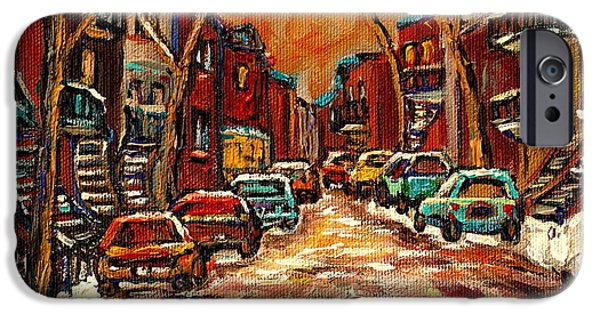 Montreal Storefronts Paintings iPhone Cases - Montreal Streets In Winter iPhone Case by Carole Spandau