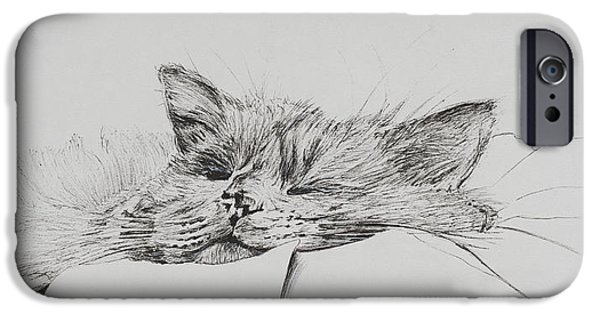 Lines Drawings iPhone Cases - Monty  sleepy boy iPhone Case by Vincent Alexander Booth