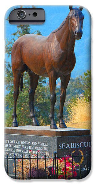 Ridgewood iPhone Cases - Monument to Seabiscuit iPhone Case by Josephine Buschman