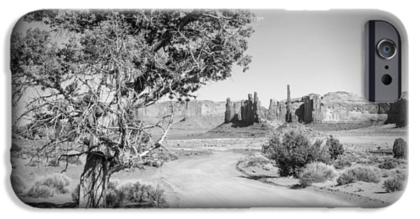 Navajo Nation iPhone Cases - Monument Valley Drive and Totem Pole black and white iPhone Case by Melanie Viola