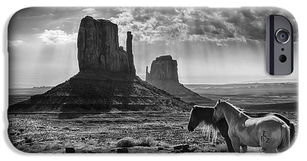The Horse iPhone Cases - Monument Valley Horses iPhone Case by Priscilla Burgers