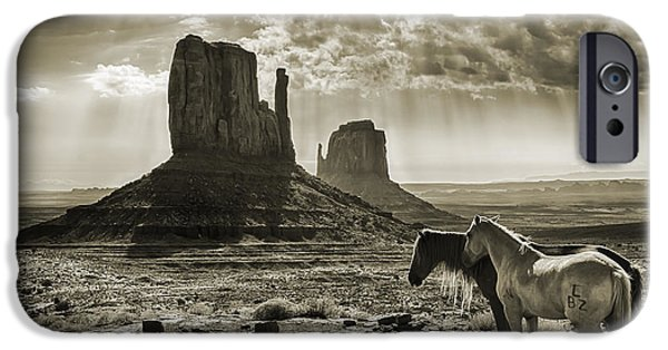 The Horse iPhone Cases - Monument Valley Horses - Sepia iPhone Case by Priscilla Burgers