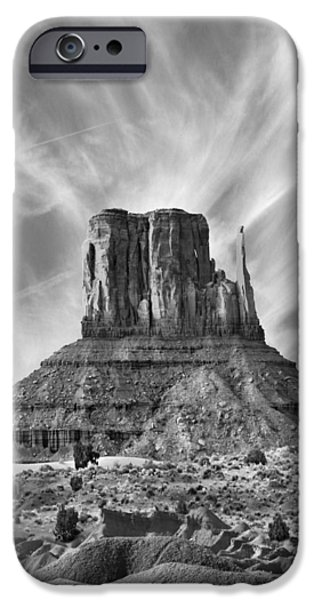 Red Rock iPhone Cases - Monument Valley - Left Mitten 2bw iPhone Case by Mike McGlothlen
