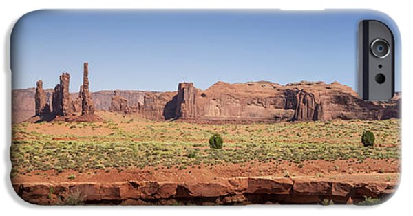 Nation iPhone Cases - Monument Valley Panoramic Scenery iPhone Case by Melanie Viola