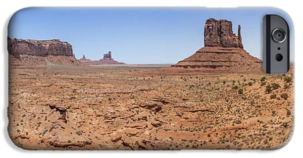 Nation iPhone Cases - Monument Valley Panoramic Valley View iPhone Case by Melanie Viola