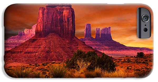 Monument Valley iPhone Cases - Monument Valley Sunset iPhone Case by Harry Spitz