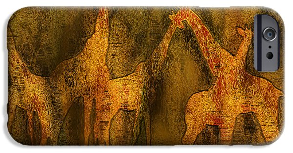 Giraffe Abstract iPhone Cases - Moods Of Africa - Giraffes iPhone Case by Carol Cavalaris