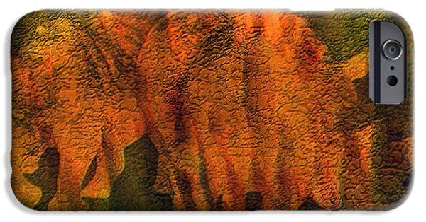 Rhino iPhone Cases - Moods Of Africa - Rhinos iPhone Case by Carol Cavalaris
