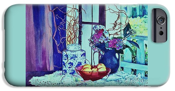 Garden Scene Paintings iPhone Cases - Moody Blues iPhone Case by Cynthia Pride