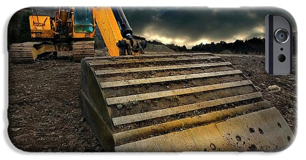 Storm Photographs iPhone Cases - Moody Excavator iPhone Case by Meirion Matthias
