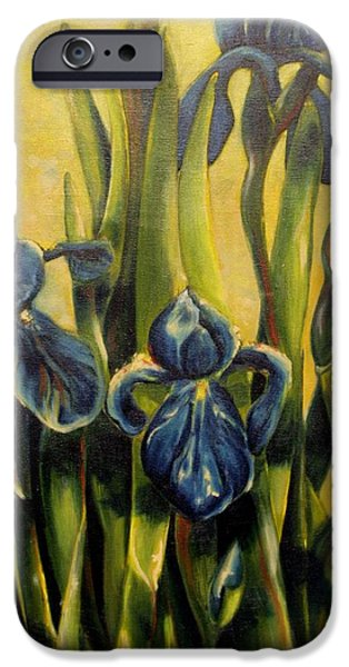 Garden Scene Paintings iPhone Cases - Moody Irises iPhone Case by Tamara Kulish