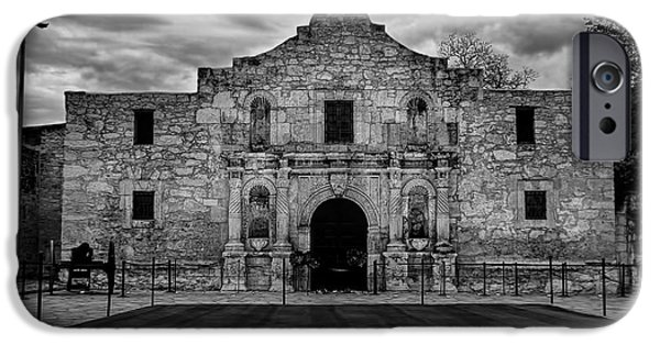Freedom iPhone Cases - Moody Morning at the Alamo BW iPhone Case by Jemmy Archer