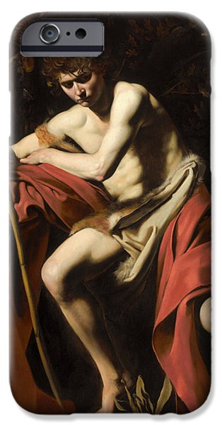 Caravaggio iPhone Cases - Moody St. John the Baptist iPhone Case by Caravaggio