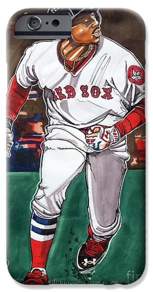 Fenway Park Drawings iPhone Cases - Mookie Betts iPhone Case by Dave Olsen