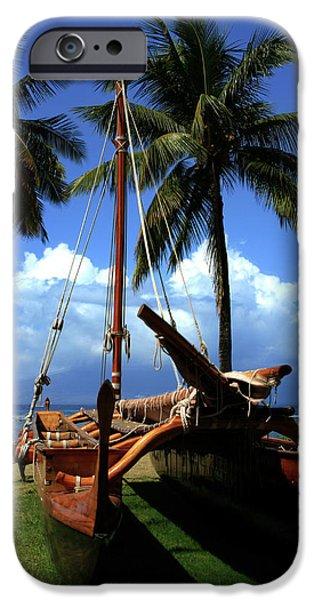 Moolele Canoe at Hui O Waa Kaulua Lahaina iPhone Case by Sharon Mau