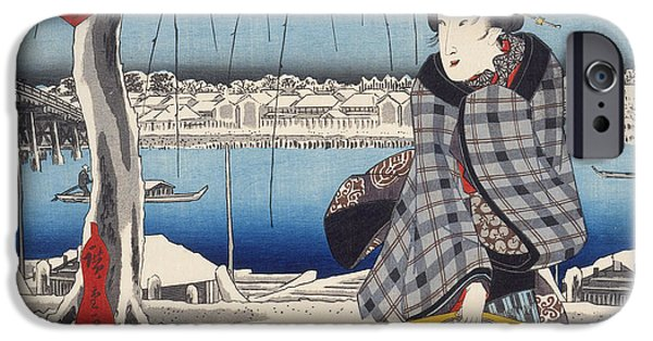 Snowy Drawings iPhone Cases - Moon after Snow at Ryogoku iPhone Case by Hiroshige