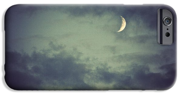 Moonscape iPhone Cases - Moon And Clouds At Night iPhone Case by Dan Radi