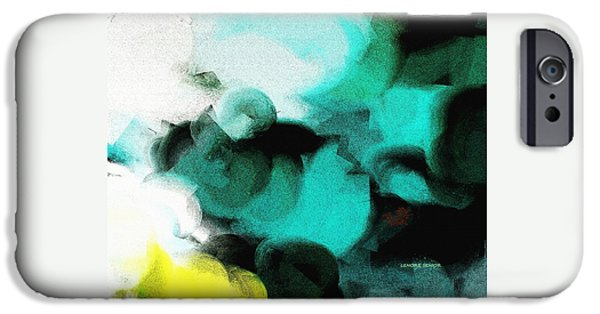 Abstract Expressionist iPhone Cases - Moon and Roses iPhone Case by Lenore Senior