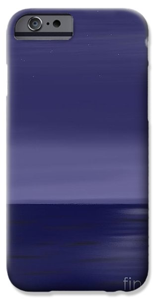 Abstractions Pastels iPhone Cases - Moon and Stars iPhone Case by Jerod Roberts