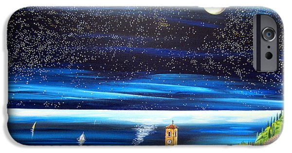 Village By The Sea iPhone Cases - Moon and Stars over the Village  iPhone Case by Roberto Gagliardi