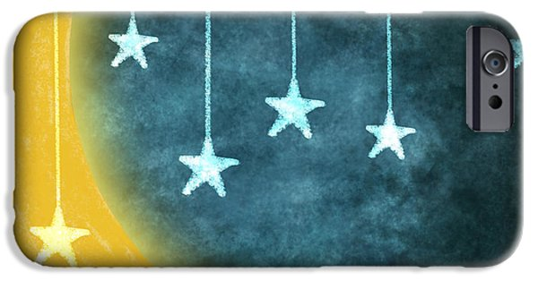 Stars iPhone Cases - Moon And Stars iPhone Case by Setsiri Silapasuwanchai