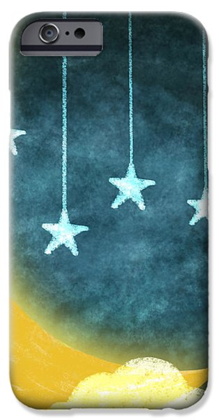 moon and stars iPhone Case by Setsiri Silapasuwanchai