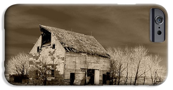 Rural Decay Digital Art iPhone Cases - Moon lit Sepia iPhone Case by Julie Hamilton