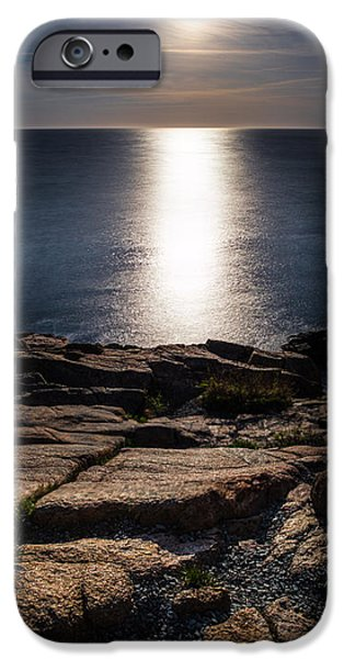 New England Lighthouse iPhone Cases - Moon Over Acadia Shores iPhone Case by Brent L Ander