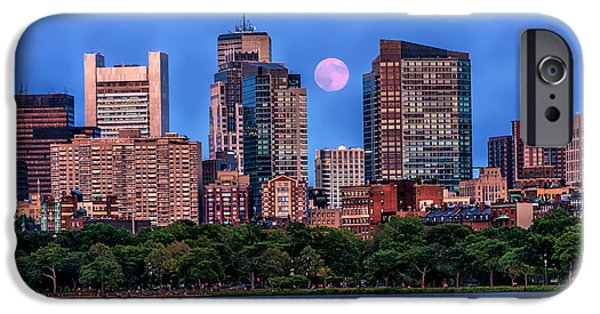 Boston Ma iPhone Cases - Moon over Boston iPhone Case by Larry  Richardson