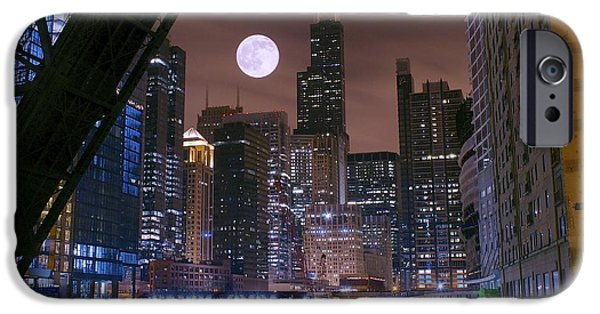 Willis Tower iPhone Cases - Moon Over Chicago iPhone Case by Frozen in Time Fine Art Photography