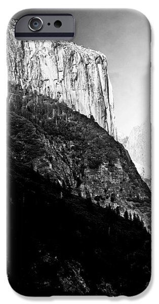 Moon Over Half Dome . Black and White iPhone Case by Wingsdomain Art and Photography