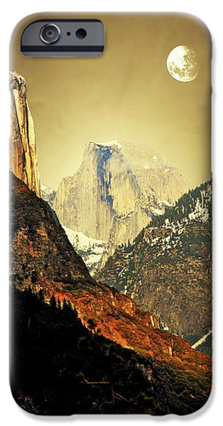 Moon Over Half Dome iPhone Case by Wingsdomain Art and Photography