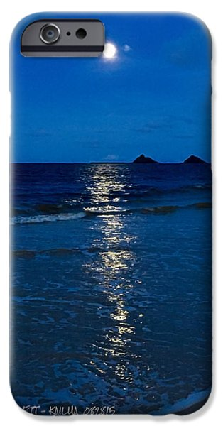 Moonshine On The Beach iPhone Cases - Moon Over Kailua iPhone Case by Robert Abbett