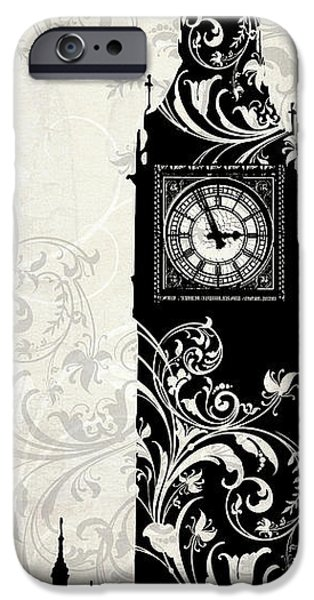 Big Ben iPhone Cases - Moon Over London iPhone Case by Mindy Sommers