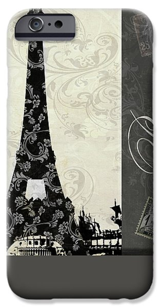 Paris Paintings iPhone Cases - Moon Over Paris Postcard iPhone Case by Mindy Sommers