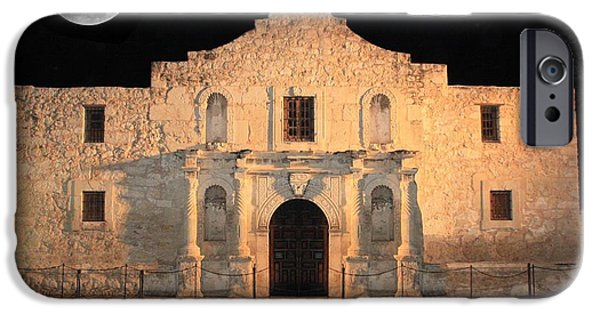 Historic Buildings iPhone Cases - Moon over the Alamo iPhone Case by Carol Groenen
