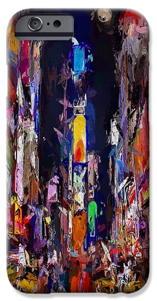Abstract Expressionism iPhone Cases - Moon over Times Square iPhone Case by Stefan Kuhn