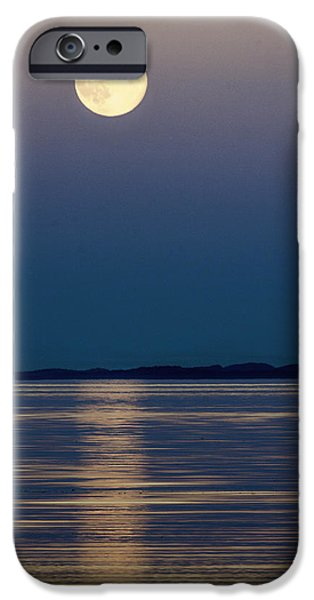 Moonscape iPhone Cases - Moon Over Water iPhone Case by Claude Dalley