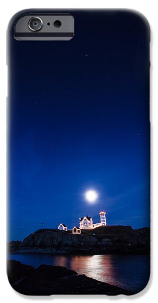 Nubble Lighthouse iPhone Cases - Moon rise Nubble Lighthouse iPhone Case by Jeff Folger