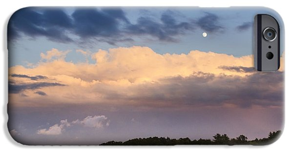 Reflecting Trees iPhone Cases - Moon Rise Over Country Fields Sunset Landscape iPhone Case by Christina Rollo
